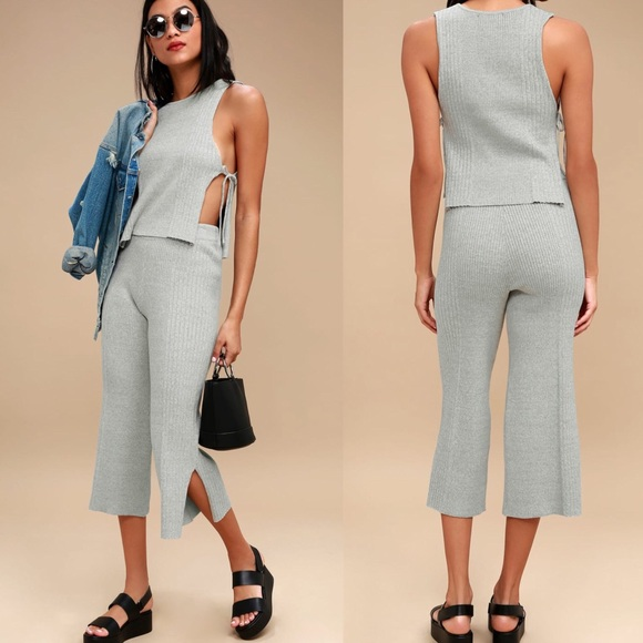 0252f189289c Heather Grey Two Piece Culotte Jumpsuit